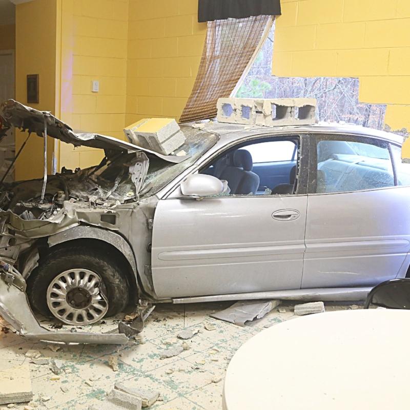 car building crash damage