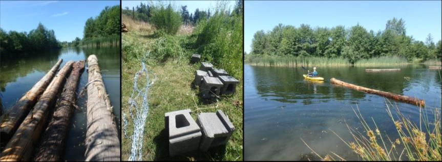 Basking log installation, anchored using cinderblocks.