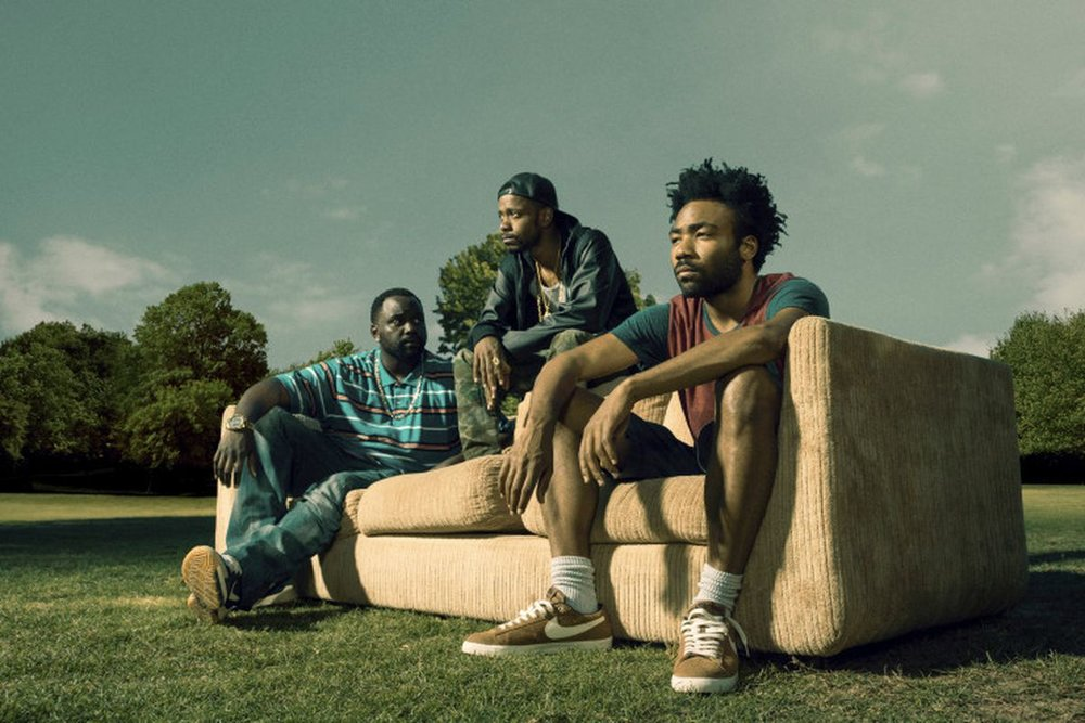 Donald Glover, with  Atlanta  co-stars Brian Tyree Henry and Lakeith Stanfield. (FX Networks)