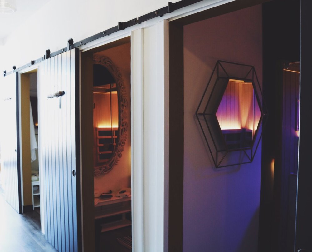 OUR SAUNAS - The sweat method found in our space is Clearlight. After much research and comparison shopping, the choice was clear (pun intended) and here is why:1. Low-EMF and Low - ELF Technology2. Leader and innovator in the infrared sauna industry for over 20 years3. True Wave heaters - Far Infrared and Full Spectrum | True Wave is the ONLY combination Carbon/Ceramic far infrared heater producing healing infrared heat that is unmatched. The full spectrum heaters are high output infrared heaters producing near, mid, and far infrared. These produce 1,000 watts of full spectrum infrared; 25x the power of the closest competitor.