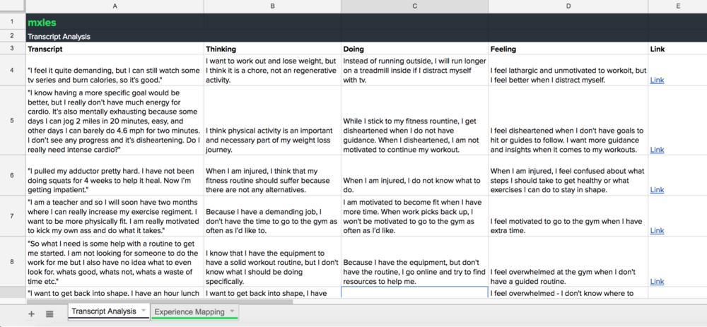Example transcript analysis.