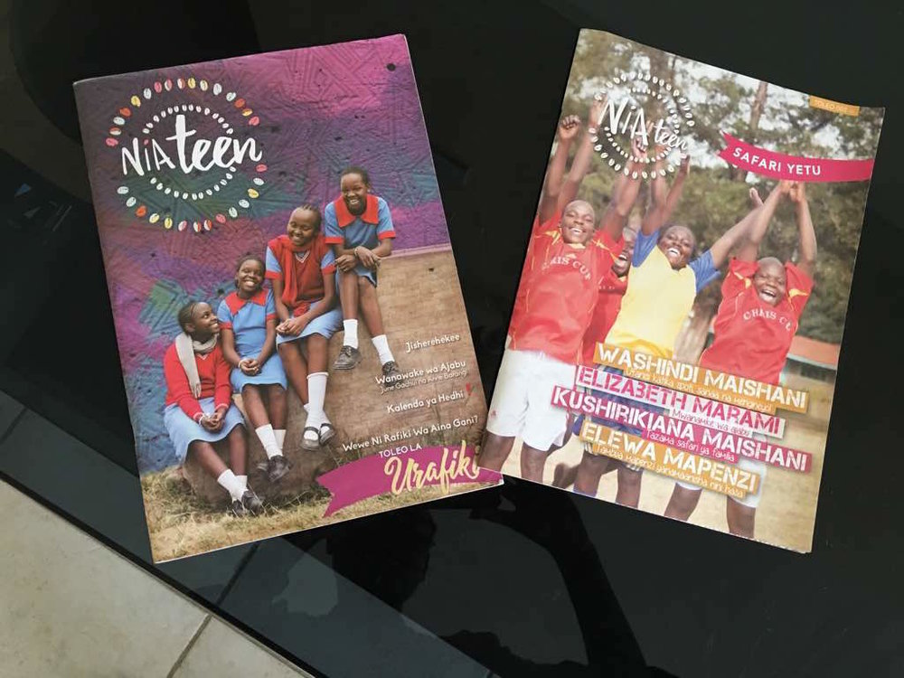 ZANA AFRICA: Nia teen MAGAziNE   Problem:  ZanaAfrica wanted to create effective educational content for adolescent girls' around  Sexual Reproductive Health and Rights as part of a  The Nia Project, a large-scale Research Trial,  featuring approximately 5000 girls.    Solution : Prior to opening OilCreatives and during our tenure at ZanaAfrica, we led the creative team in making a series of five magazines, in both English and Kiswahili, containing features, comics and activities.