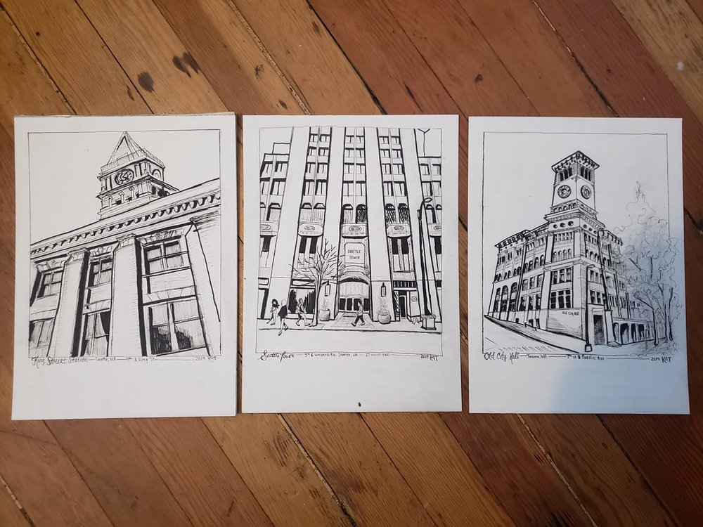 Sketches of King Street Station, Seattle Tower, and Old Tacoma City Hall