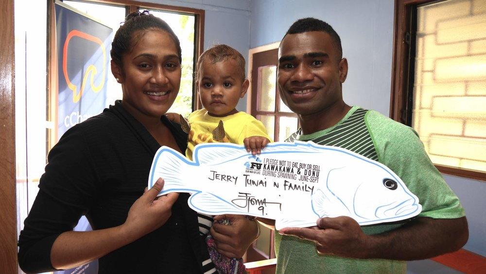 Fiji 7s Captain Jerry Tuwai takes the 4FJ pledge not to eat kawakawa and donu during breeding season.