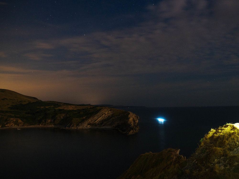 Ellida rowing into Lulworth Cove at approximately 11pm on Saturday night.
