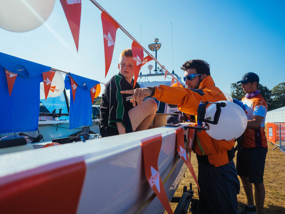 Isaac helping to raise awareness and funds for the MS Society and Berkshire Multiple Sclerosis Therapy Centre in the summer along the Jurassic Coast. The team's extreme ocean crossing to raise funds for MS inspired Claire to write the letters.