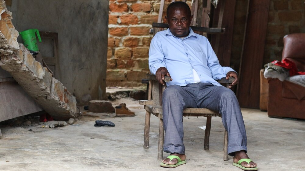 Jerome Bokele, pictured at his home in Mbandaka, is the first and only Batwa pygmy politician in Equateur Province, DRC