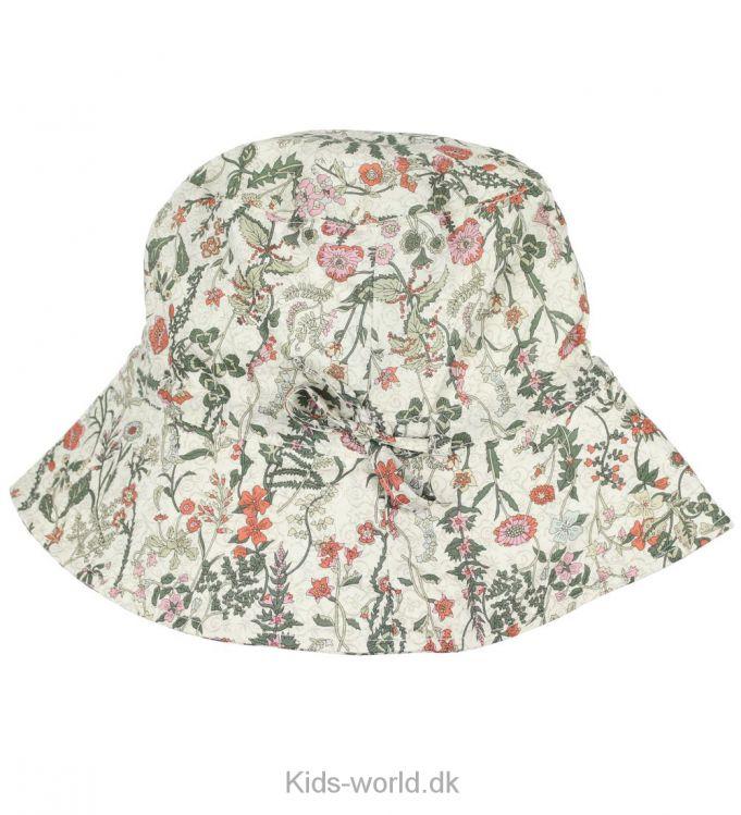 Huttelihut Sommerhat - Liberty - Sød sommerhat i creme med et fint print af blomster i rosa og røde nuancer. Sommerhatten har en rund hovedform og en bred skygge hele vejen rundt.
