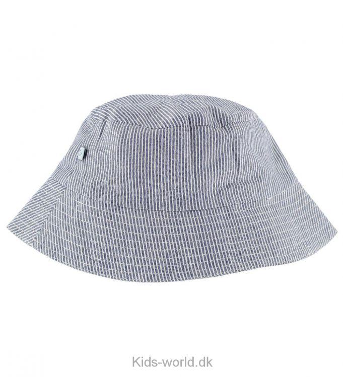 Noa Noa Miniature - Blåstribet - Super fin sommerhat med striber i skiftevis blå og creme. Den har en rund hovedforme med en bred skygge hele vejen rundt så barnet er beskyttet med solen.