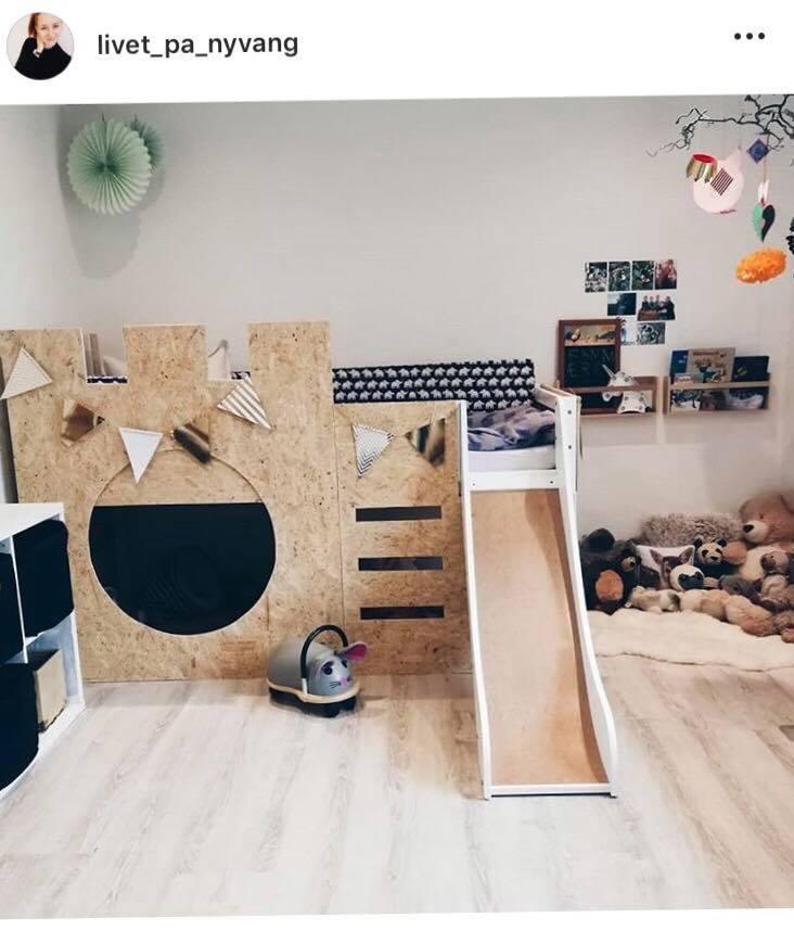 Er du ligeså forelsket i denne hjemmebygget seng som vi er? Og så endda med rutsjebane! WOW