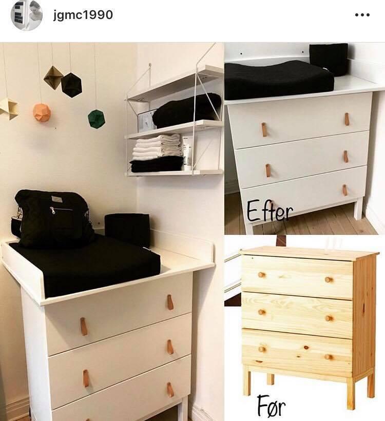 Den kreative løsning - Denne mor har været kreativ og har renoveret en indkøbt IKEA reol med maling, nye greb og en topplade.Vi er vilde med resultatet!