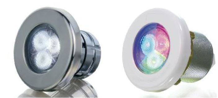 WLX100   110 - AdLed Mini Pool Projectors are a range of fixtures to light small pools, spas, submerged steps and other underwater elements.Different models in stainless steel, polymer, pressure fit, threaded and with niches suit every type of pool construction. Availablewith wide, medium and narrow angle optics. IP68.