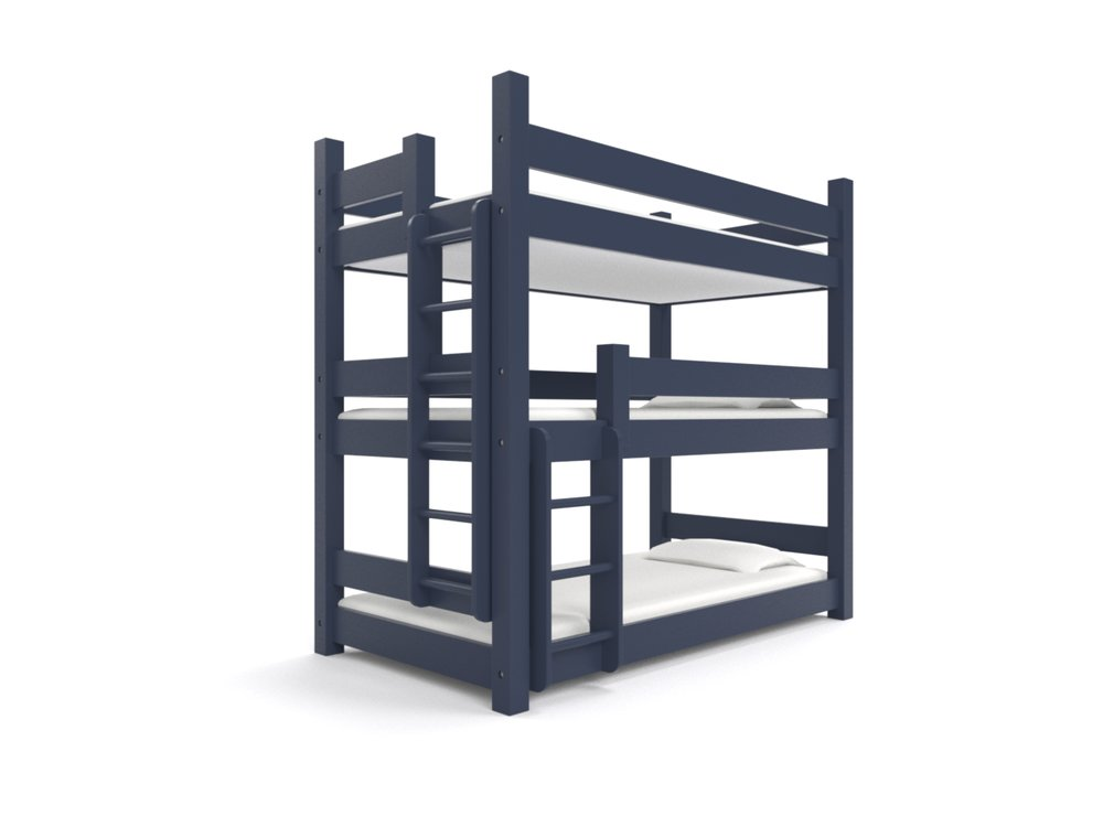 """ KATAHDIN "" Triple Twin -  A triple decker for a bunk room.  Holds three 75"" long twin beds. Options include extra safety rails, ""porthole"" ladders, and extra length.   Newport Navy Blue.   Starting at $3295"