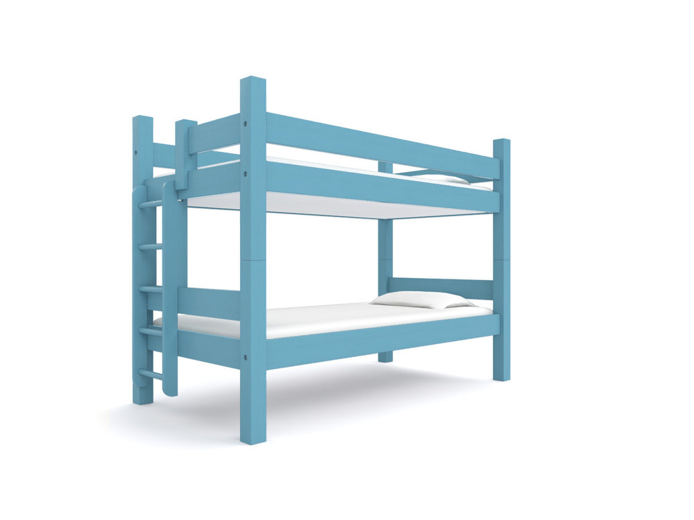 """ ACADIA "" Twin-over-Twin  - Our classic Twin bunk. Two 75"" long twin beds are stacked together. Options: extra safety rail, ""porthole"" ladder, trundle or built-in storage drawers.  Color:  Blue Montana Sky .  Starting at $2195"