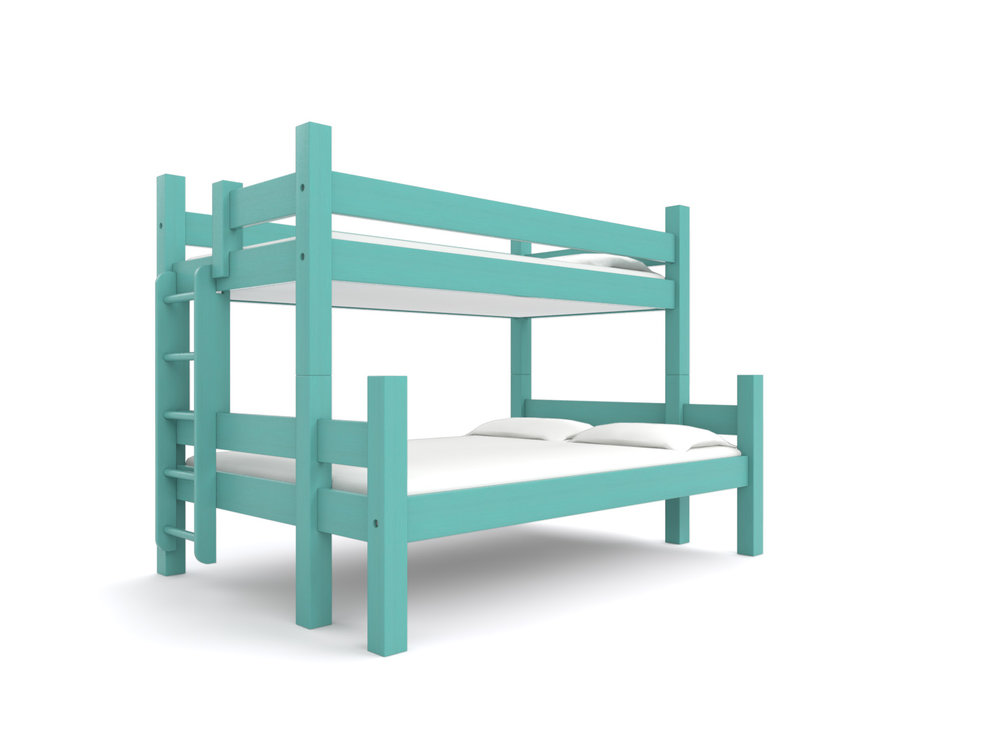 """ BAR HARBOR "" Twin-over-Full -  A versatile bunk bed for guests and children. Holds one 75"" long Twin bed and one 75"" long Full bed. Options: extra length, a trundle or drawers.  Color:  Destin Gulf Green   Starting at $2495"