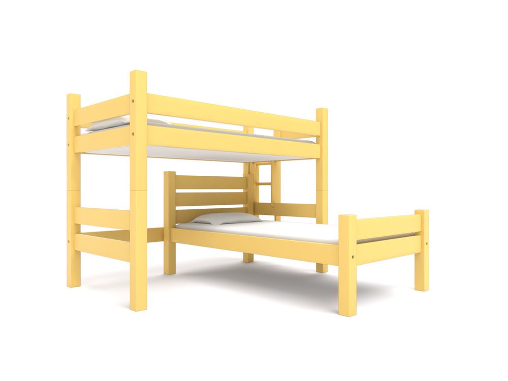 """ Bowdoin "" Twin Loft  + Freestanding Bed -  A Twin Loft bed with a freestanding Camp Bed. Extra length or height.    California Gold .  Starting at $2895"