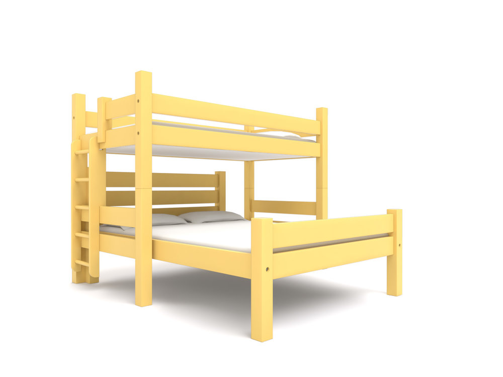 """ Colby "" Full Loft  +   Freestanding Bed -  A Full Loft bed with a freestanding Camp Bed. Extra length or height.    California Gold .  Starting at $3195"