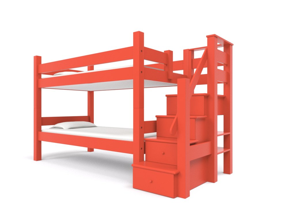 BUNK BED w/ STAIRCASE  -  An attached staircase with four built-in storage drawers that serve as steps to upper bunk. Available on all sizes of bunk beds and lofts. Made to hold adults!  Bunk Bed + Staircase: $3995:    Click here for a Quote
