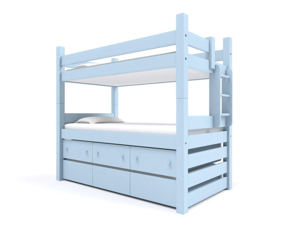 """ CAPTAIN'S"" BUNK BED  -  Our classic Captain's Bed includes a Twin Trundle and built-in Storage Drawers  under the lower bunk. Options: extra length or height.   Chesapeake Blue   Starting at $3995"