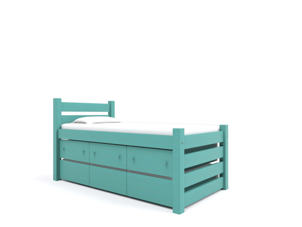 Maine Captain's Bed  - Includes a Twin Trundle under three built-in Storage Drawers. Holds a twin or full-size mattress.   Destin Gulf Green   Starting at $2595