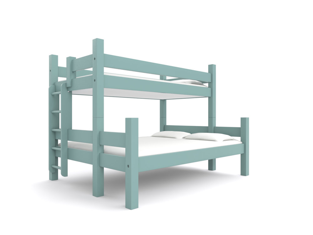 """CAMDEN""   Twin-over-Queen   - No better bunk bed to maximize the flexibility of your home's sleeping arrangements. A twin bed is stacked on top of a queen. Trundle or storage drawers.   Smoky Mountain Gray   Starting at $2595"