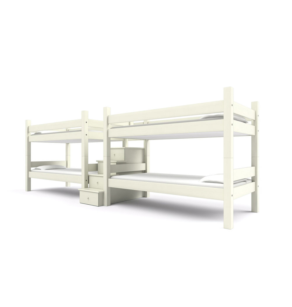 """ FORESIDE "" Quadruple Twin -  Perfect for vacation homes in need of a bunk room for friends and family. Two sets of Twin bunk beds are joined together by a center staircase.  Vintage White   Starting at $6495"