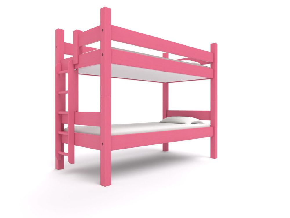 """ ANDROSCOGGIN "" XL Twin-over-Twin -  Made for adults! Two extra long twin beds with extra headroom are stacked to form an XL Twin-over-Twin bunk bed.  Options: Trundle or storage drawers.  Las Vegas Fuchsia   Starting at $2295"