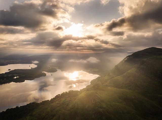 When the light breaks through.  Drone shot from this morning as I was flying over Killarney lakes the light just burst through and I managed to grab this image.  This is a two part image exposed for the foreground and also the sky to capture those light rays piercing through. Not much post processing I used a small touch of orton to create some soft light coming from the sky and to warm the light rays. .  Dji Mavic Pro . . #raw_ireland  #sky_marvels  #sky_painters  #sky_captures  #duffypics  #djimavicpro  #ig_ireland  #irish_daily  #kerry  #dronephotography  #drone  #sunrise_madness  #sunrise_sunsets_aroundworld  #lovinireland  #loves_ireland  #loves_united_ireland  #earthshotz  #nature_brilliance  #wanderireland  #ig_worldclub #irishpassion  #inspireland #global_hotshotz  #worldtravelcaptures #raw_drone
