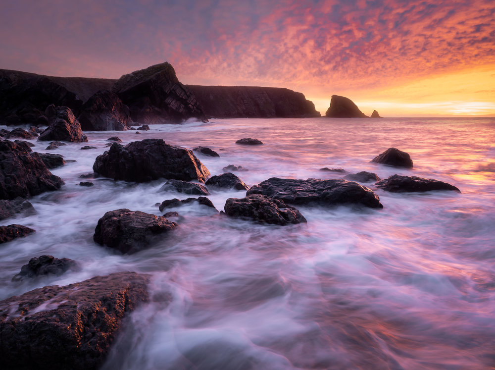 A sunrise which was followed by a day of wet and windy weather. Location: Ballydowane Beach, Waterford
