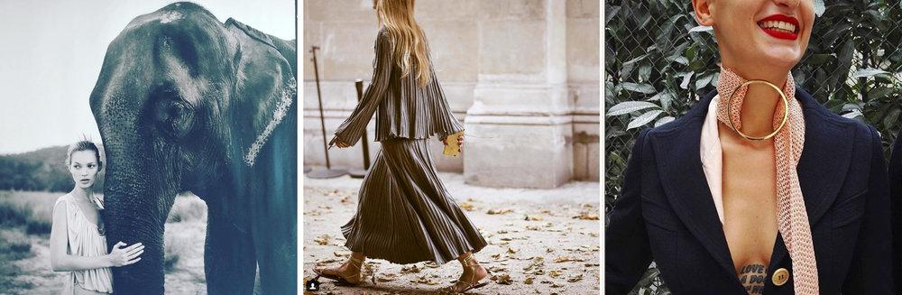 Kate Moss par Arthur Elgort via @ suzymenkesvogue , Jennifer Neyt comme un rêve satiné pendant la fashion week parisienne en Chloé via @ jenniferneyt et le sourire – et le cou et le décolleté – radieux d'Agathe Rousselle via @ ag_rou
