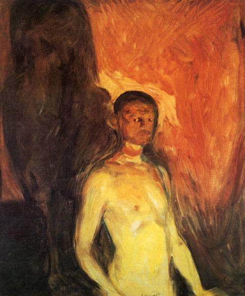 """""""Selvportrett I Helvvette"""" by Edvard Munch - 1903 -  The Munch Museum, Oslo"""