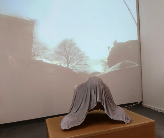 Installation shot from Stephanie Tanney's degree show. Not unlike Holder's shrouded figure.