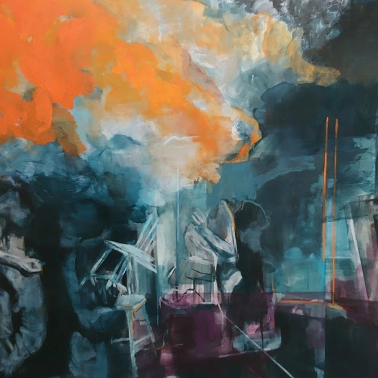One of Aimee Melaugh's atmospheric paintings at her degree show.