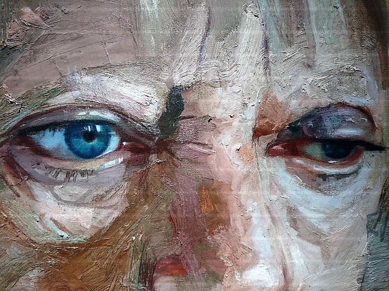 "Detail of one of Colin Davidson's remarkable paintings in ""Silent Testimony"" at the Nerve Visual Gallery, Derry"