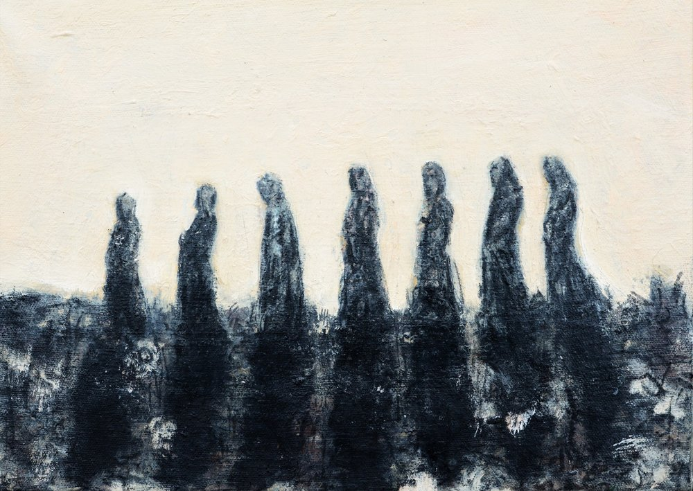 """Procession Study""  Oil and Charcoal on Canvas  ©2018"