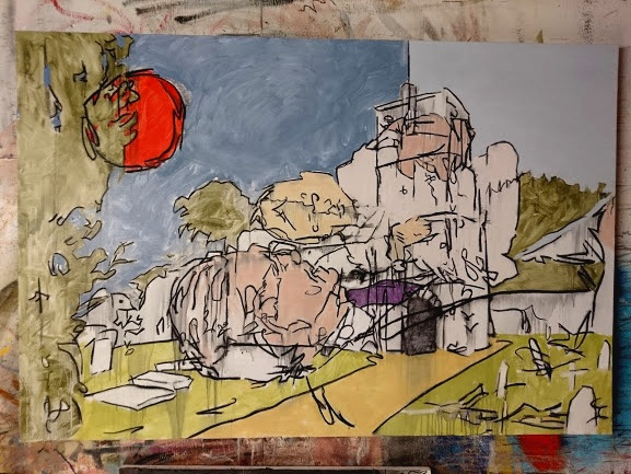 Christening + St Lurach's ruins. This is the biggest canvas I've tackled in a long time.