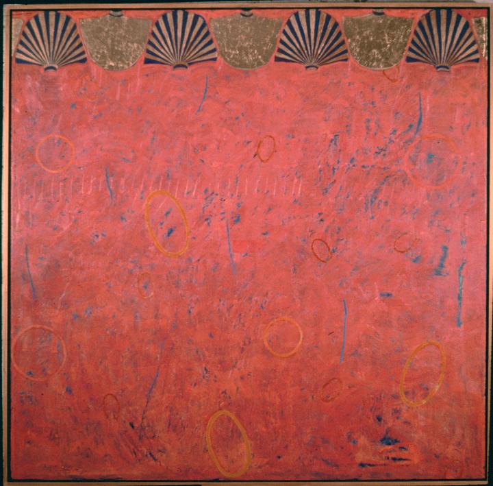 "Echo Responds to Ka   Oil, Gold Leaf on Panel  60X60"", 152.4X152.4 cm"