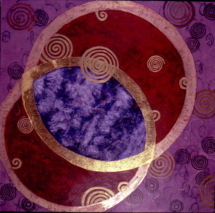 """Perpetuality of the Spiral   Oil, Gold Leaf on Panel  60X60"""", 152.4X152.4 cm"""