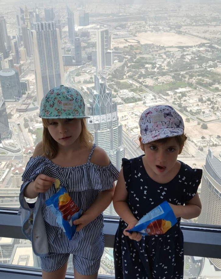Crisps and good views at the top of the Burj Khalifa