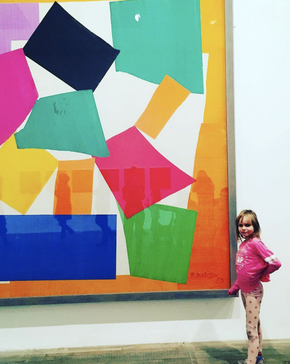 Evie enjoying Matisse's 'The Snail' at the Tate Modern