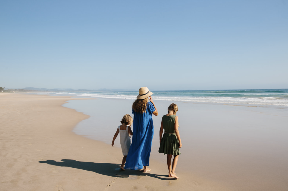 Courtney Adamo and daughters Marlow and Ivy in Byron Bay