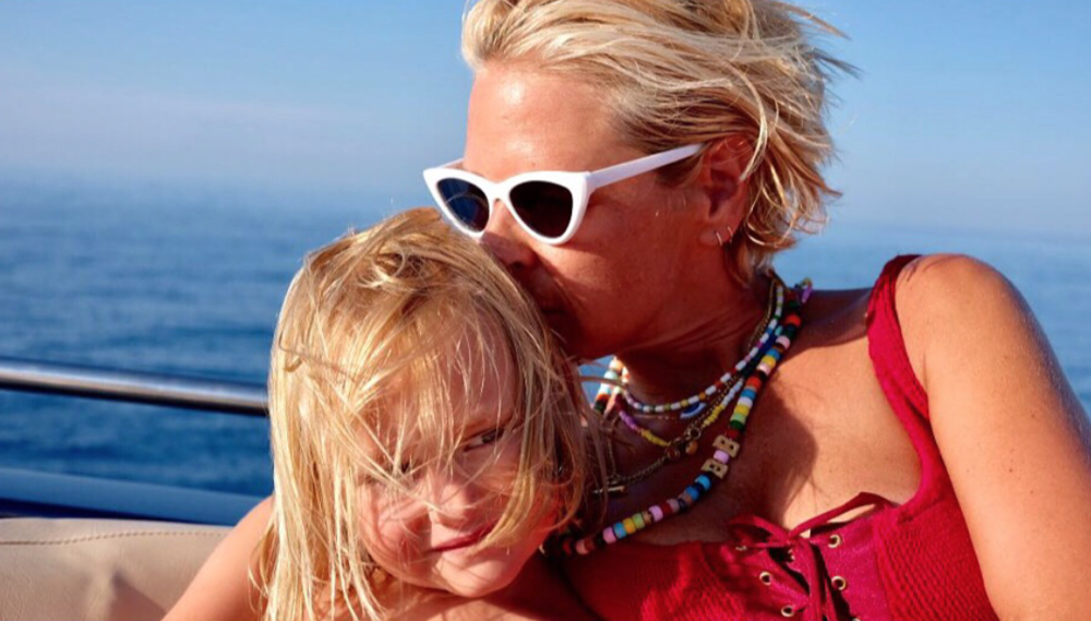 Deborah Brett in Ibiza with her youngest child, Ottilie