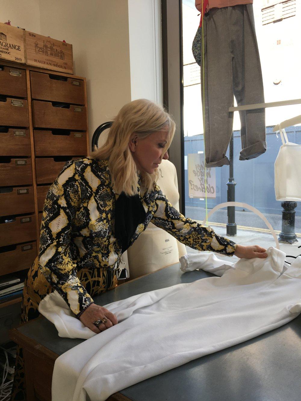 Caroline Gration in the Chelsea studio
