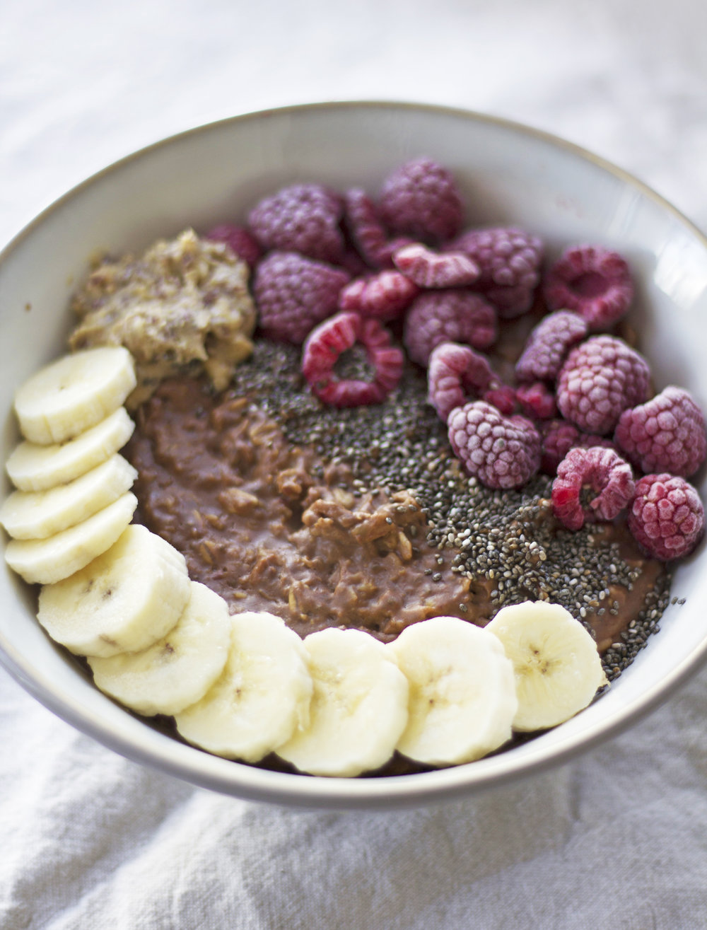 Chocolate, peanut butter and fruit filled oatmeal  - prep time 10 mins     total time 30 mins    serves 2