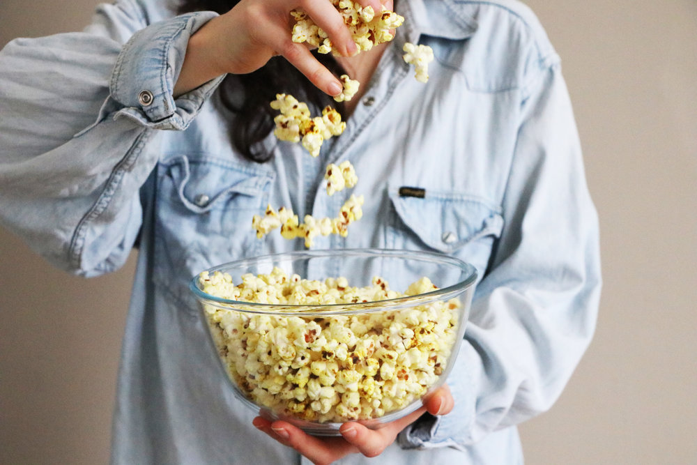 I am popcorn obsessed. This spicy take on popcorn is a great addition to movie night.  - prep time 5 mins      total time 10 mins     serves 2-4