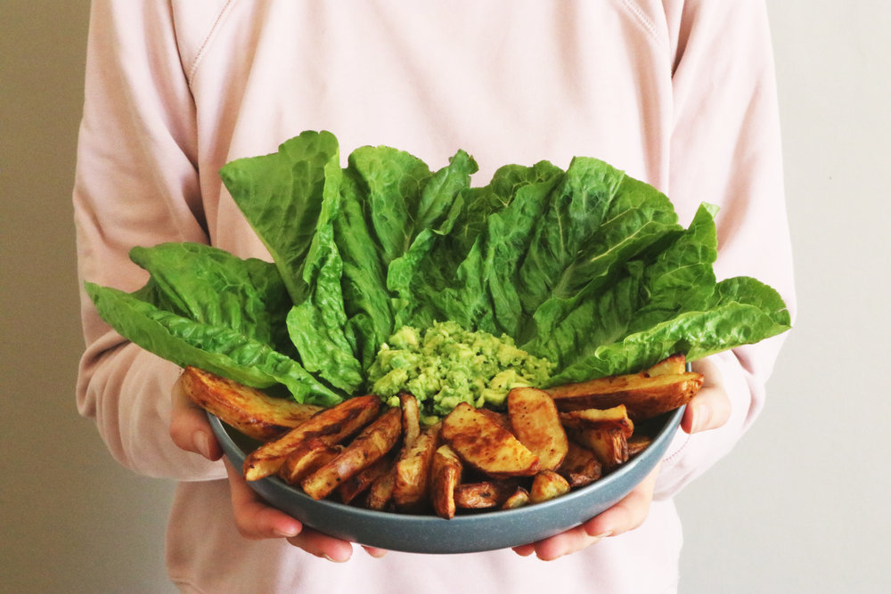 Making your own homemade chips is super easy, and very cheap! Perfect in a lettuce wrap with some avocado. - prep time 5 mins   total time 45 mins     serves 2