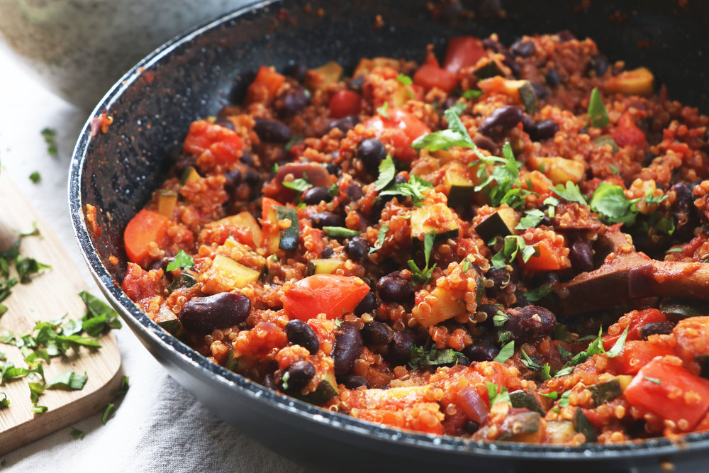 Ideal for meal prep, this quinoa chilli is as simple as it is delicious. - prep time 5 mins  total time30 mins  serves 4-6