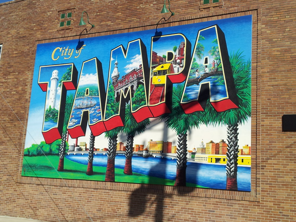 The gorgeous city of tampa mural at 1001 N. Jefferson Street