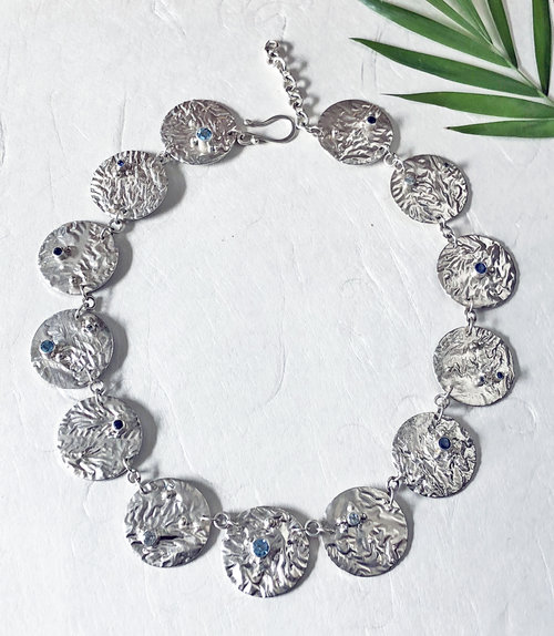 9c64b8a0f3a reticulated silver circle link necklace with blue sapphires topaz  aquamarine gemstons ...