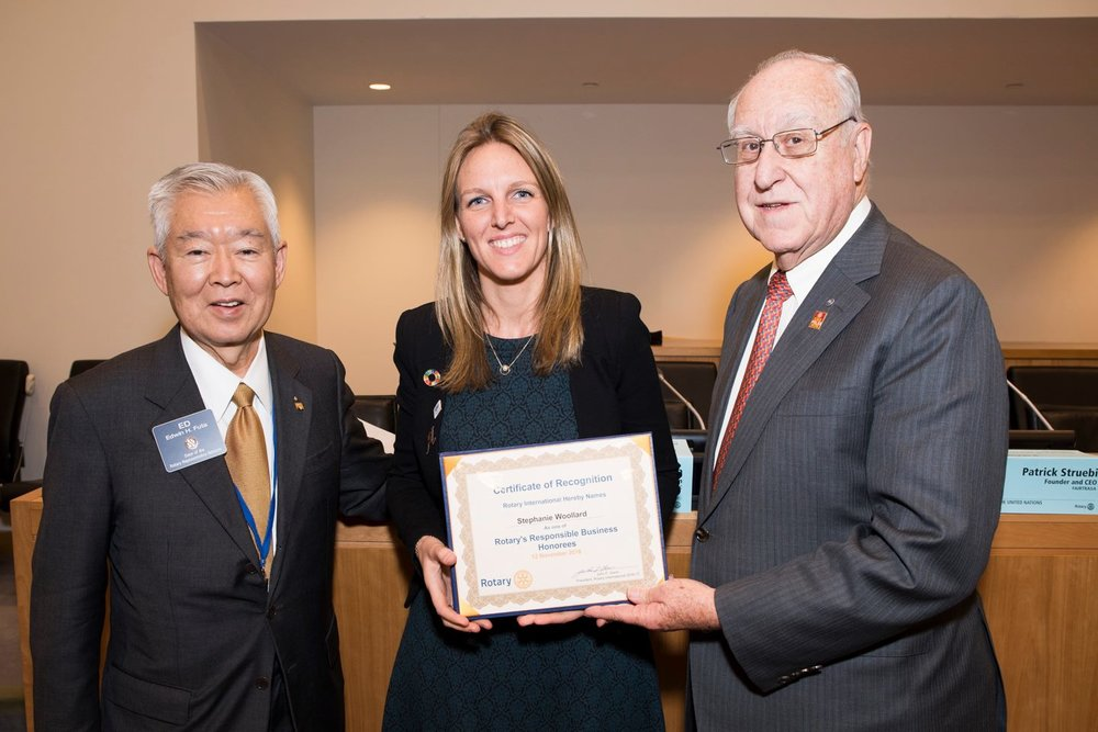 Steph receiving a Rotary International Responsible Business Award at the UN General Assembly